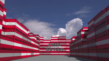 hétfő : Cargo containers with CYBER MONDAY text and national flags of Austria. Austrian online commerce related 3D animation