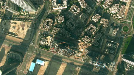 エリート : DUBAI, UNITED ARAB EMIRATES - DECEMBER 30, 2019. Aerial top down view of Dubai downtown buildings 動画素材