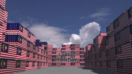 segunda feira : Cargo containers with CYBER MONDAY text and flags of Malaysia. Malaysian online commerce related 3D animation Vídeos