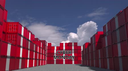 perui : Containers with CYBER MONDAY text and national flags of Peru. Peruvian online commerce related 3D animation Stock mozgókép