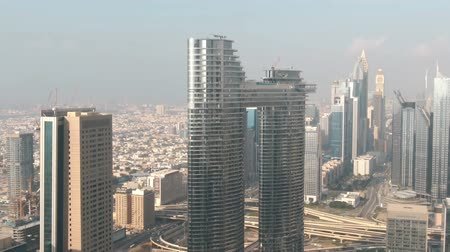altitude : DUBAI, UNITED ARAB EMIRATES - DECEMBER 30, 2019. Aerial view of the Address Sky View Hotel Stock Footage