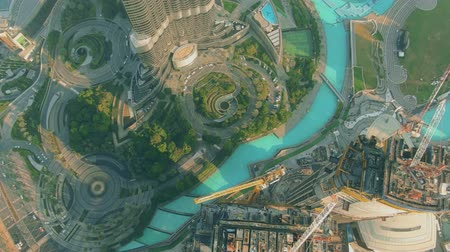 элита : Aerial top down view of Dubai downtown park and skyscraper construction site, UAE Стоковые видеозаписи