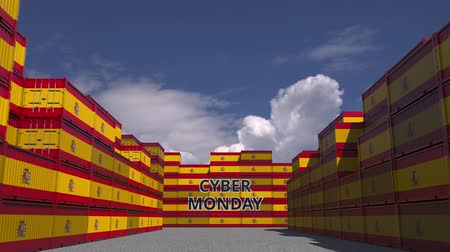 hétfő : Containers with CYBER MONDAY text and national flags of Spain. Spanish online commerce related 3D animation