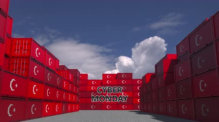 hétfő : Containers with CYBER MONDAY text and flags of Turkey. Turkish online commerce related 3D animation Stock mozgókép