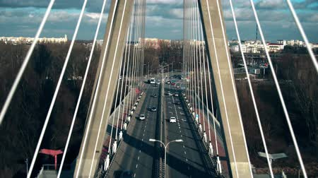 stayed : Aerial view of cable-stayed bridge traffic in Warsaw, Poland Stock Footage