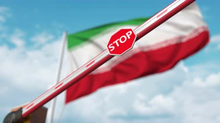 определенный : Closed boom gate on the Iranian flag background. Restricted entry or certain ban in Iran