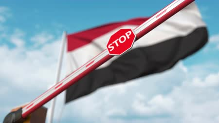 определенный : Closing boom barrier with stop sign against the Egyptian flag. Restricted entry or certain ban in Egypt Стоковые видеозаписи