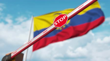 определенный : Barrier gate being closed with flag of Ecuador as a background. Ecuadorian restricted entry or certain ban