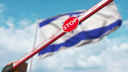 определенный : Closed boom gate on the Israeli flag background. Restricted border crossing or certain ban in Israel