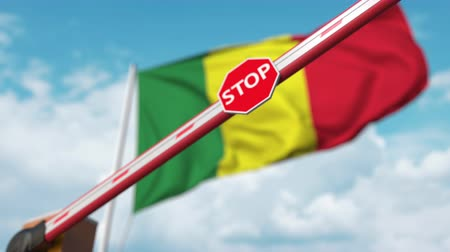 определенный : Closed boom gate on the Senegalese flag background. Restricted entry or certain ban in Senegal Стоковые видеозаписи