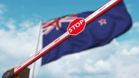 определенный : Closing boom barrier with stop sign against the New zealand flag. Restricted border crossing or certain ban in New zealand Стоковые видеозаписи