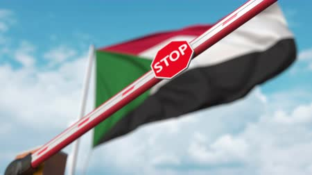 определенный : Closed boom gate on the Sudanian flag background. Restricted border crossing or certain ban in Sudan Стоковые видеозаписи