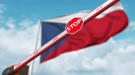 определенный : Closing boom barrier with stop sign against the Czech flag. Restricted entry or certain ban in the Czech Republic