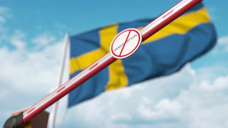 göçmen : Closing boom barrier with stop immigration sign against the Swedish flag. Restricted border crossing or immigration ban in Sweden