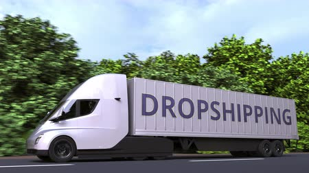 szállító : Modern electric semi-trailer truck with DROPSHIPPING text on the side. Loopable 3D animation