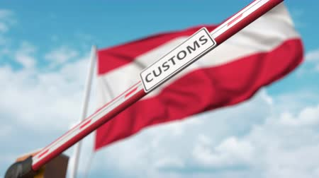 austríaco : Closed boom gate with CUSTOMS sign on the Austrian flag background. Border closure or protective tariffs in Austria
