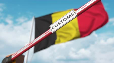 belgie : Barrier gate with CUSTOMS sign being closed with flag of Belgium as a background. Belgian border closure or protective tariffs