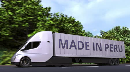 perui : Modern electric semi-trailer truck with MADE IN PERU text on the side. Peruvian import or export related loopable 3D animation