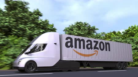 importação : Electric semi-trailer truck with AMAZON logo on the side. Editorial loopable 3D animation