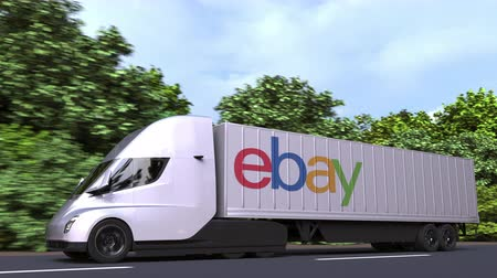 ebay : Electric semi-trailer truck with EBAY logo on the side. Editorial loopable 3D animation