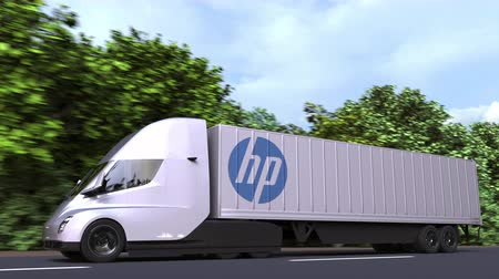 importação : Electric semi-trailer truck with HP logo on the side. Editorial loopable 3D animation