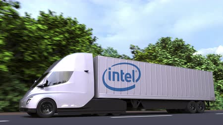rakomány : Electric semi-trailer truck with INTEL logo on the side. Editorial loopable 3D animation Stock mozgókép