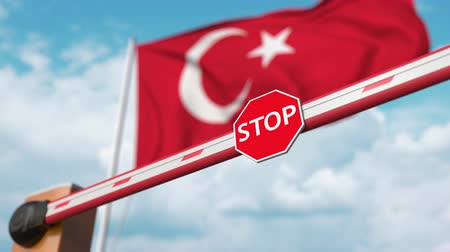 invite : Open boom gate on the Turkish flag background. Free border crossing or lifting a ban in Turkey