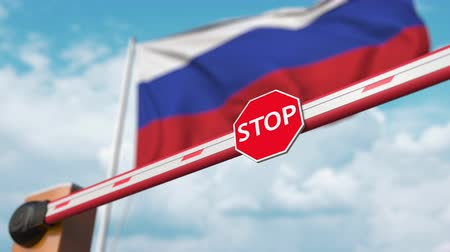 accepting : Barrier gate being opened with flag of Russia as a background. Russian Free entry or lifting a ban