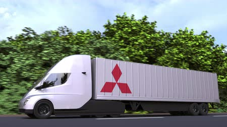 treyler : Electric semi-trailer truck with MITSUBISHI logo on the side. Editorial loopable 3D animation