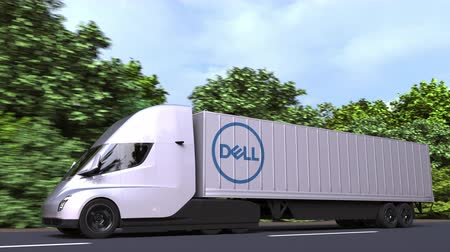 델 : Electric semi-trailer truck with DELL logo on the side. Editorial loopable 3D animation
