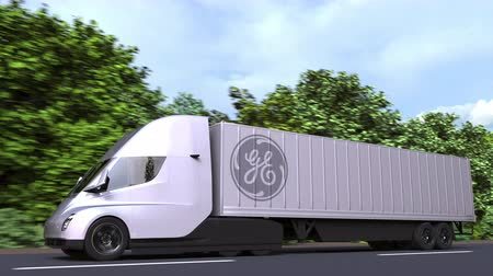general electric : Electric semi-trailer truck with GENERAl ELECTRIC GE logo on the side. Editorial loopable 3D animation