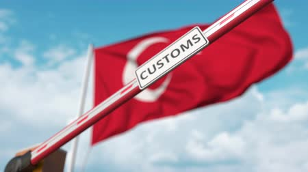 devoir : Closed boom gate with CUSTOMS sign on the Turkish flag background. Restricted border crossing or protective tariffs in Turkey