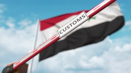 restringido : Closed boom gate with CUSTOMS sign on the Syrian flag background. Restricted border crossing or protective tariffs in Syria Stock Footage