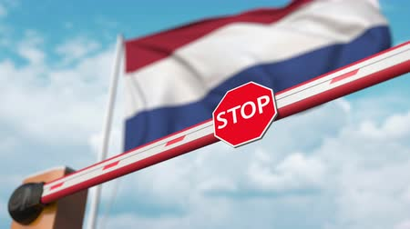 enable : Opening boom barrier with stop sign against the Dutch flag. Free border crossing or lifting a ban in Netherlands