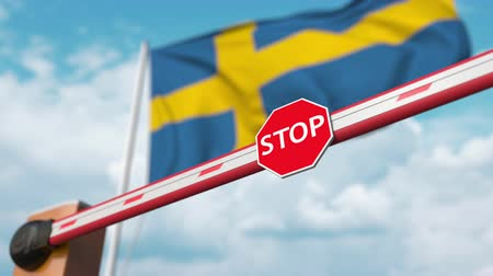 enable : Opening boom barrier with stop sign against the Swedish flag. Free border crossing or lifting a ban in Sweden