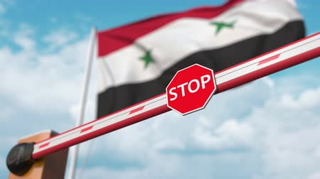 enable : Open boom gate on the Syrian flag background. Free border crossing or lifting a ban in Syria