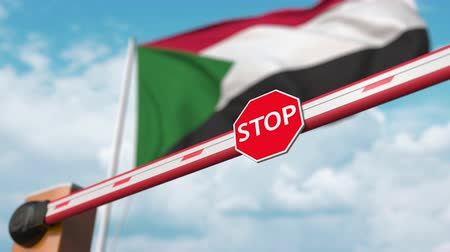permitir : Open boom gate on the Sudanian flag background. Free border crossing or lifting a ban in Sudan Archivo de Video