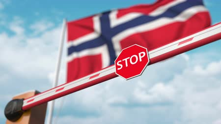 permitir : Barrier gate being opened with flag of Norway as a background. Norwegian Free entry or lifting a ban