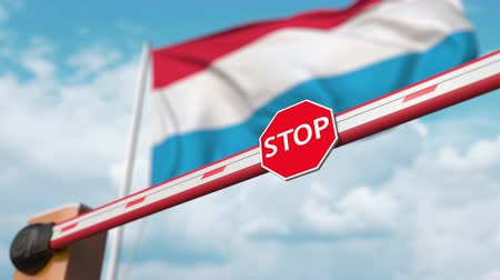 abriu : Barrier gate being opened with flag of Luxembourg as a background. Luxembourgian Free border crossing or lifting a ban Stock Footage