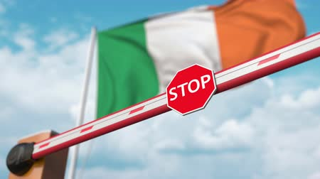 enable : Open boom gate on the Irish flag background. Free entry or lifting a ban in Ireland Stock Footage