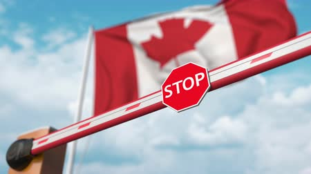 aperto cartello : Opening boom barrier with stop sign against the Canadian flag. Free entry or lifting a ban in Canada