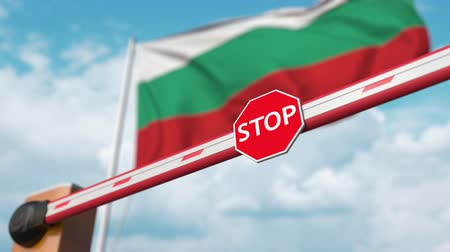 enable : Open boom gate on the Bulgarian flag background. Free entry or lifting a ban in Bulgaria