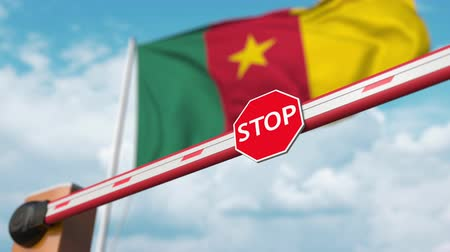 gümrük : Open boom gate on the Cameroonian flag background. Free entry or lifting a ban in Cameroon