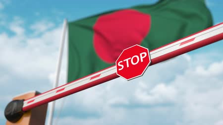 authorise : Barrier gate being opened with flag of Bangladesh as a background. Bangladeshi Free entry or lifting a ban