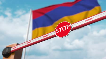 enable : Barrier gate being opened with flag of Armenia as a background. Armenian Free entry or lifting a ban
