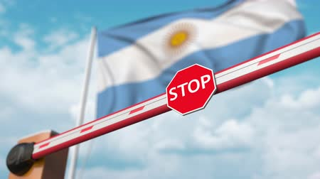 enable : Open boom gate on the Argentinean flag background. Free entry or lifting a ban in Argentina