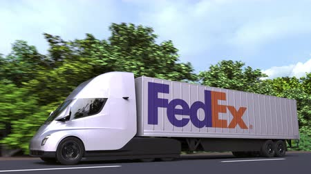 importação : Electric semi-trailer truck with FEDEX logo on the side. Editorial loopable 3D animation