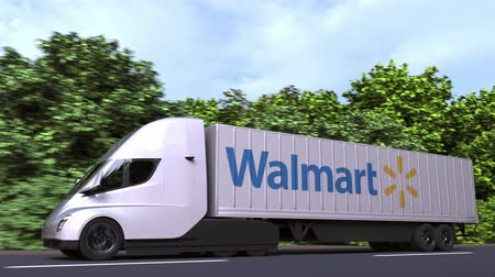 walmart : Electric semi-trailer truck with WALMART logo on the side. Editorial loopable 3D animation Stock Footage