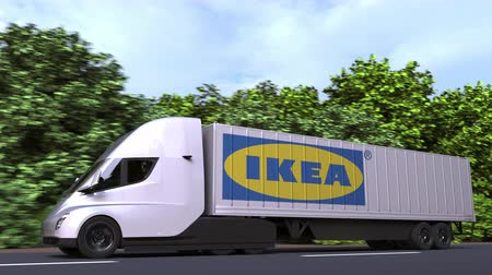ikea : Electric semi-trailer truck with IKEA logo on the side. Editorial loopable 3D animation Stock Footage