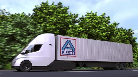 forwarding : Electric semi-trailer truck with ALDI logo on the side. Editorial loopable 3D animation